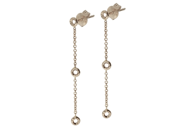 Diamond Chain Earrings-3 Stones