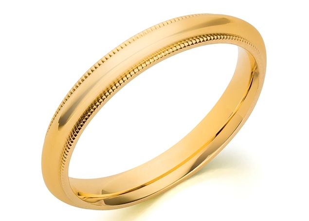 Picture of 3mm Milgrain Comfort Fit Wedding Band