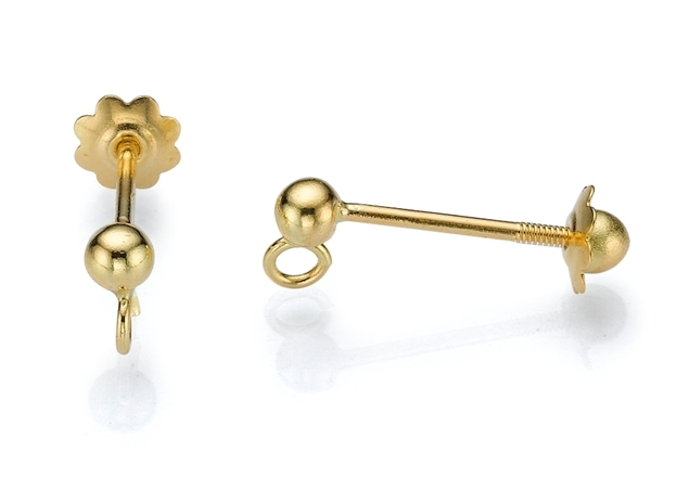 Ball Stud Earrings-Screw