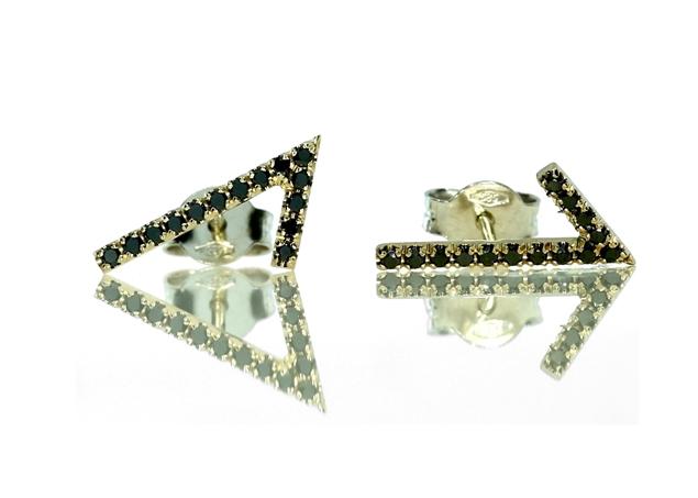 תמונה של עגילי וי עם יהלומים שחורים