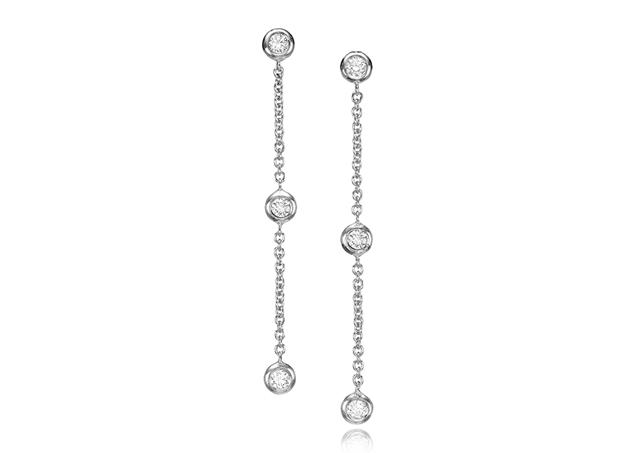 Изображение Diamond Bezel Chain Earrings 0.24 CTW