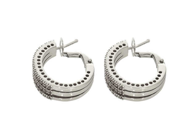 Diamond Hoop Earring 3 Lines