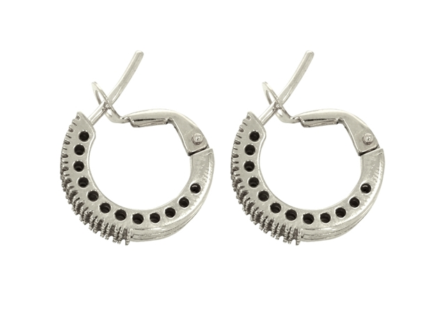 Diamond Hoop Earring 3 Lines 15mm