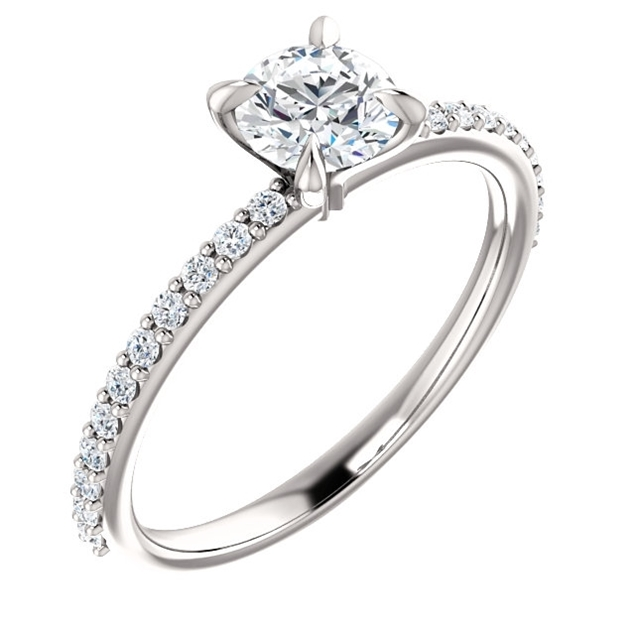 Picture of Solitaire Ring Mounting with Side Stones 0.77 CTW